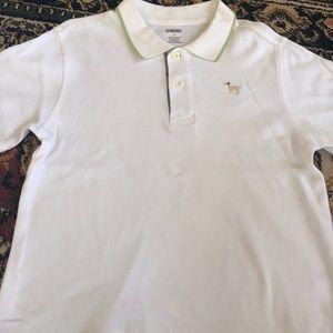 Gymboree white polo with green trim/dog emblem